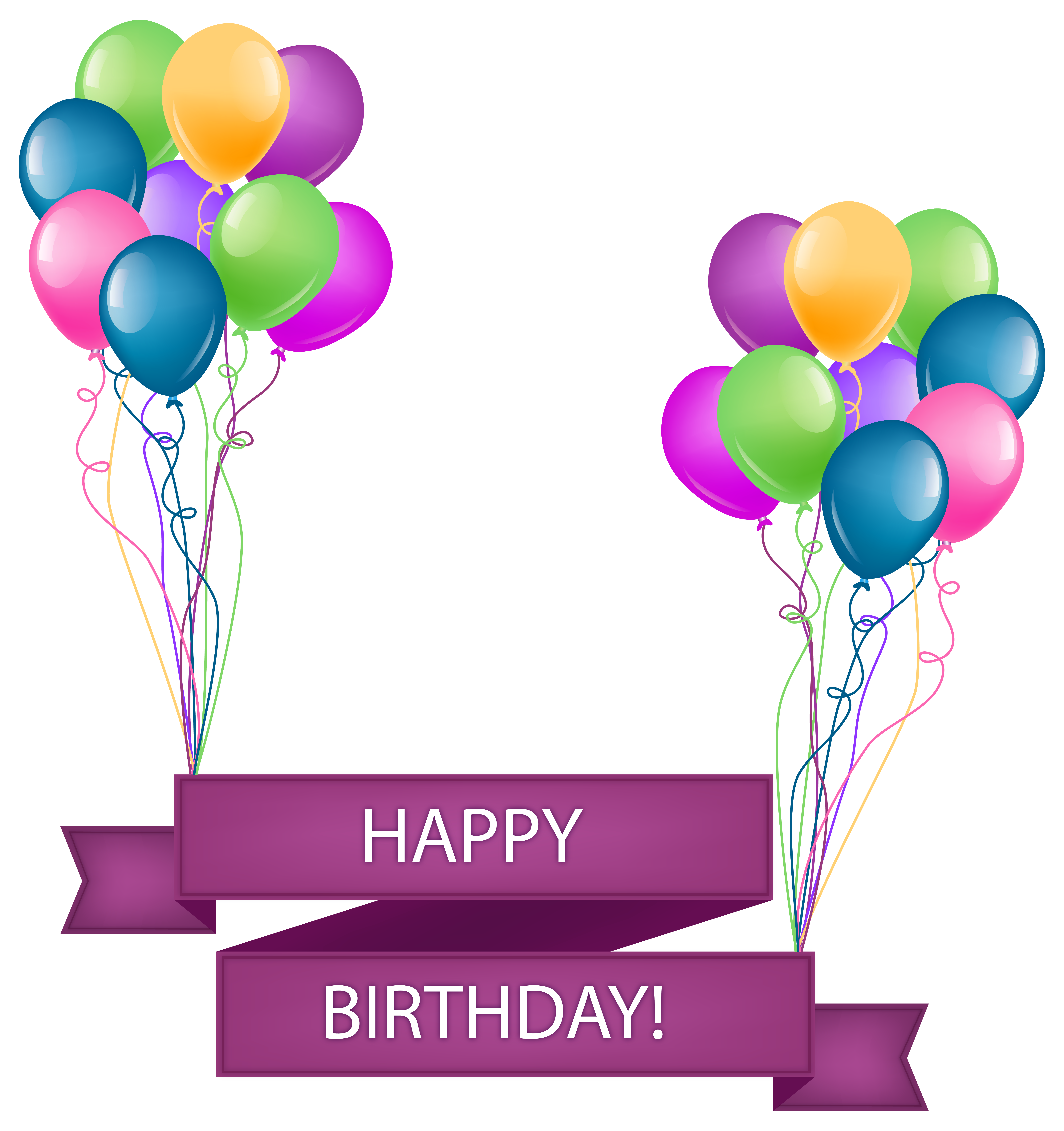 7710x8197 Happy Birthday Banner With Balloons Transparent Png Clip Art Image