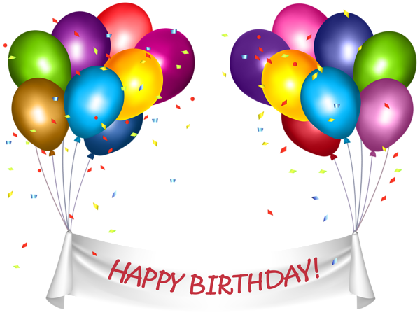 600x450 Transparent Happy Birthday Banner And Baloons Png Clip Art