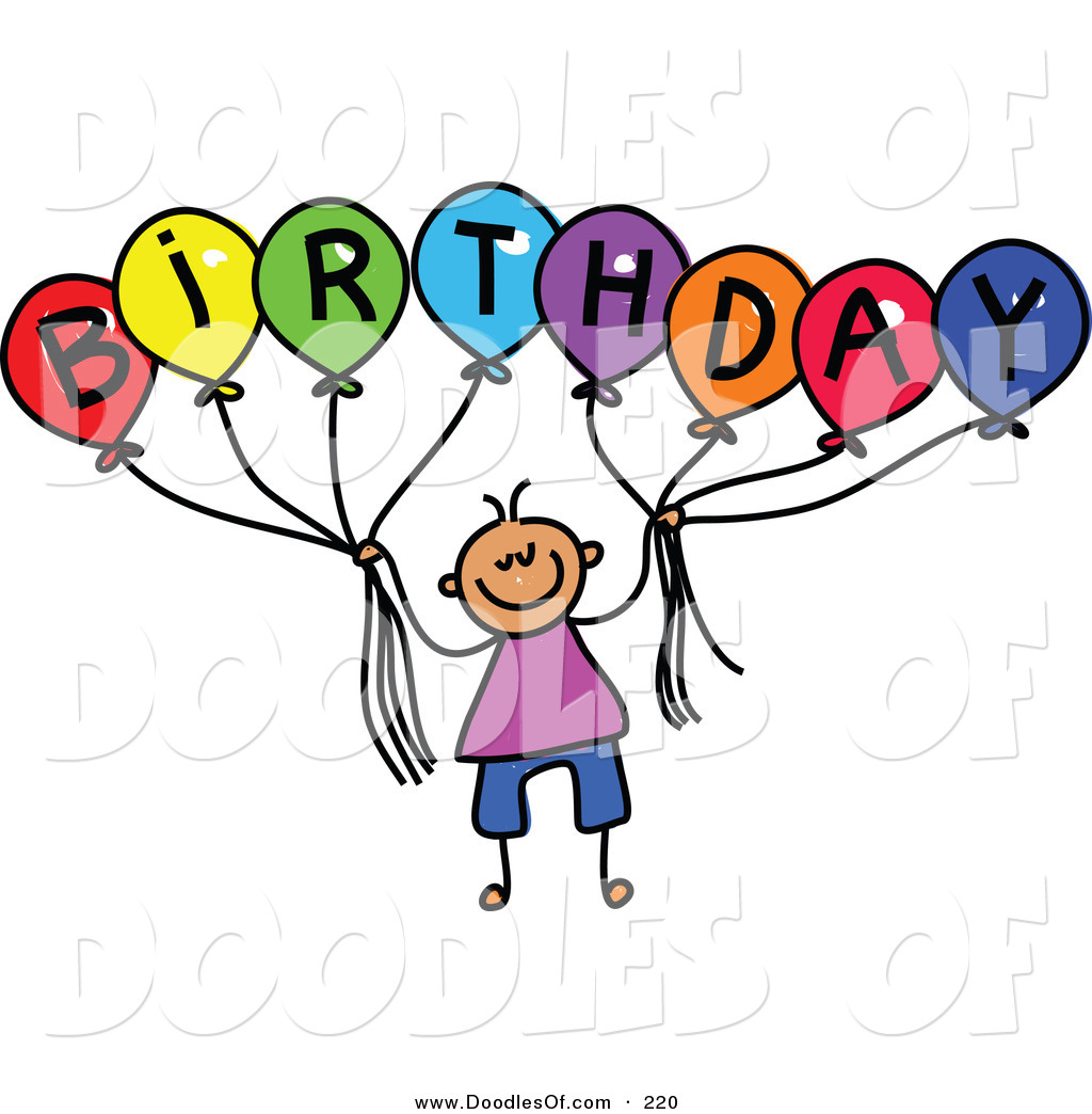 1024x1044 Vector Clipart Of A Childs Sketch Of A Boy Holding Balloons