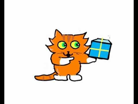 480x360 Cute Cartoon Cat Sings Happy Birthday