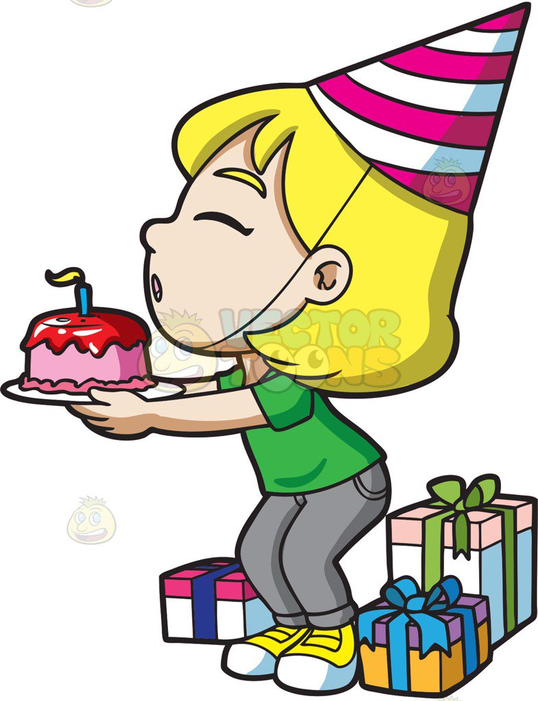785x1024 A Happy Birthday Girl Making Wish Cartoon Clipart