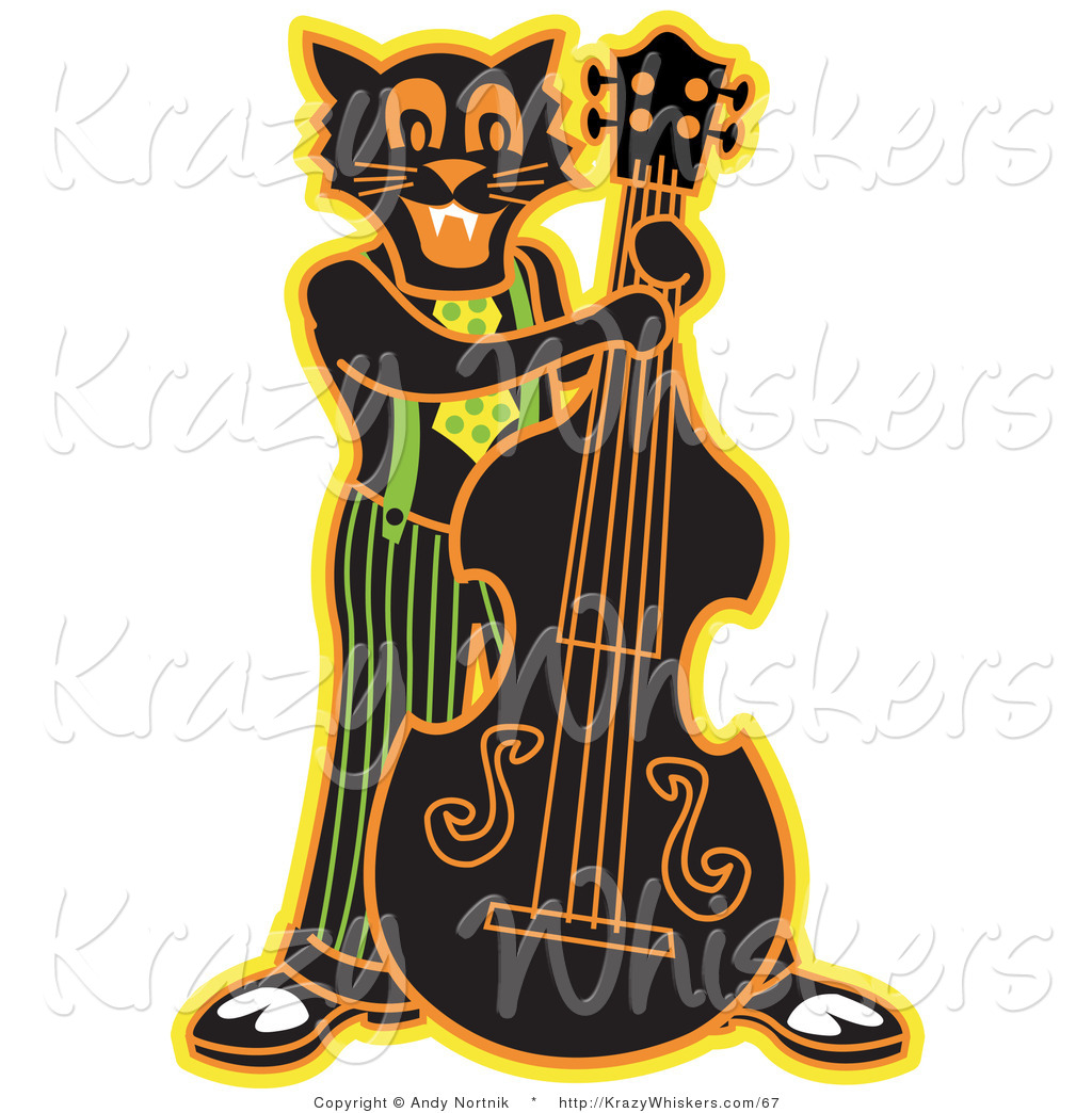 1024x1044 Critter Clipart Of Happy Black Cat Playing Bass Fiddle In