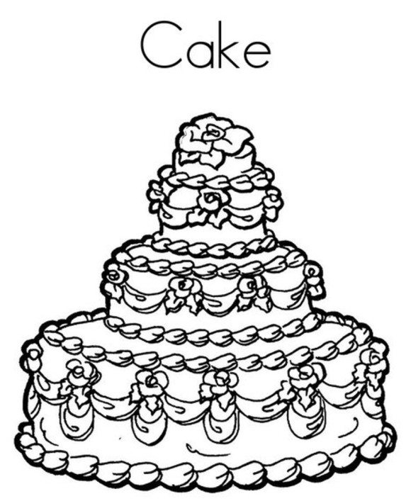 580x707 Delicious Cake Happy Birthday Coloring Pages Free