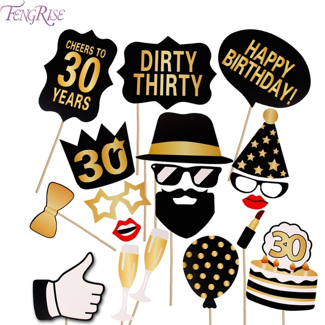 640x640 Fengrise 36 Pieces Photo Booth Gold Black 30th Birthday Man Woman