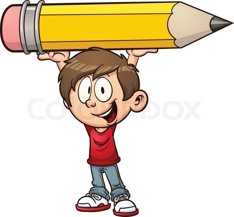 800x739 Cartoon Boy Holding A Big Pencil. Vector Clip Art Illustration