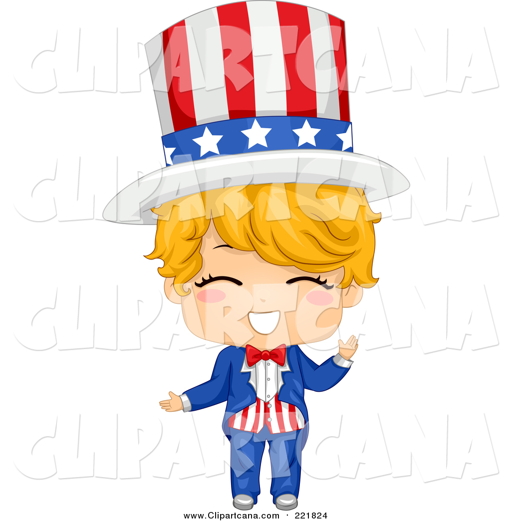 1024x1044 Clip Art Of A Happy Blond White American Boy In An Uncle Sam