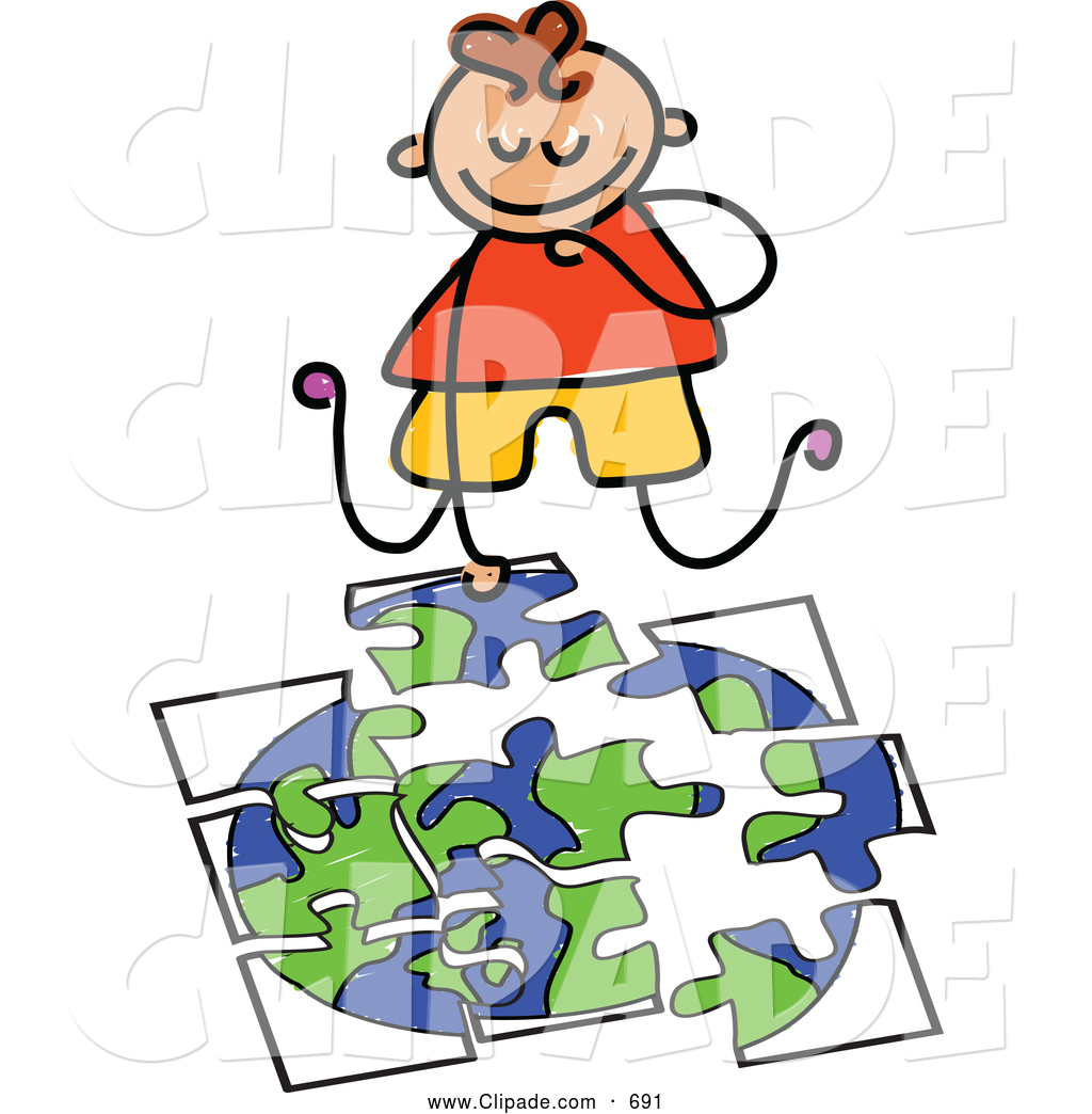 1024x1044 Clip Art Of A Happy Boy Doing A Globe Puzzle By Prawny