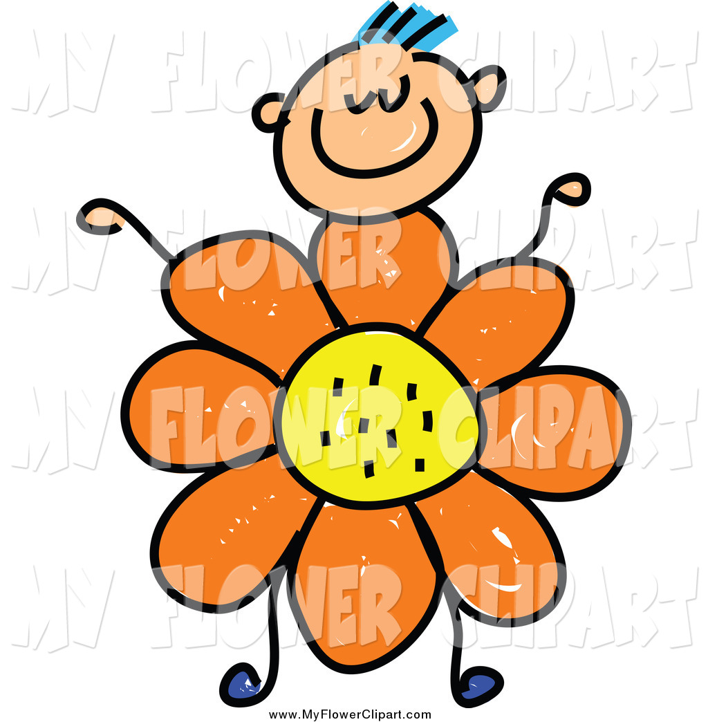 1024x1044 Clip Art Of A Happy Stick Boy With An Orange Daisy Flower Body By