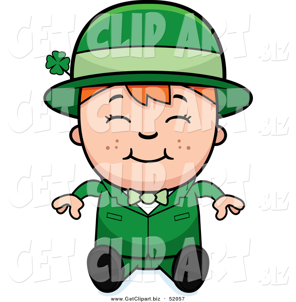 1024x1044 Clip Art Of A Sitting Happy Child Leprechaun Boy By Cory Thoman