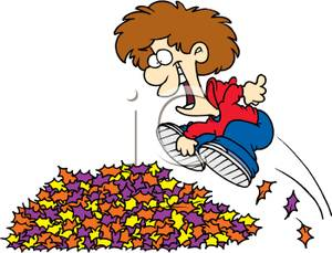 300x229 Art Image A Happy Boy Jumping In A Pile Of Leaves