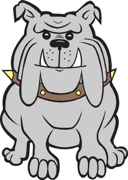 426x595 Happy Gray Bulldog Clip Art