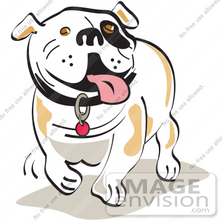 450x450 Cartoon Clip Art Graphic Of A Happy Bulldog Walking And Hanging