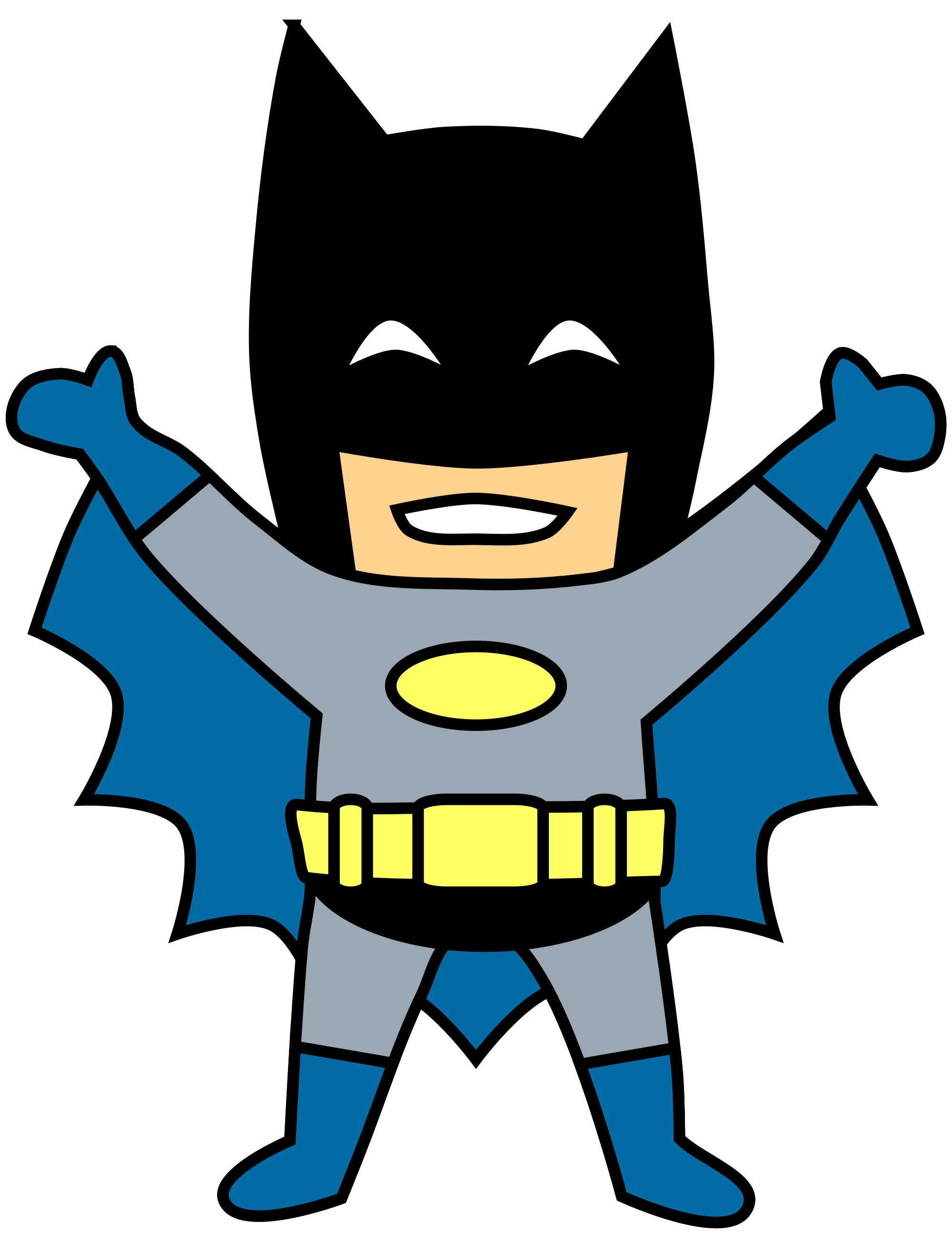 2000x2606 Happy Mini Batman Cartoon Clip Art Transparent