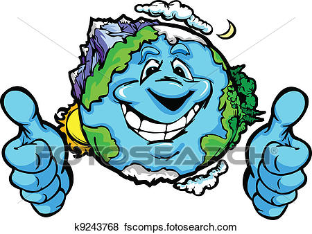 450x338 Clip Art Of Happy Planet Earth With Thumbs Up Gesture Vector