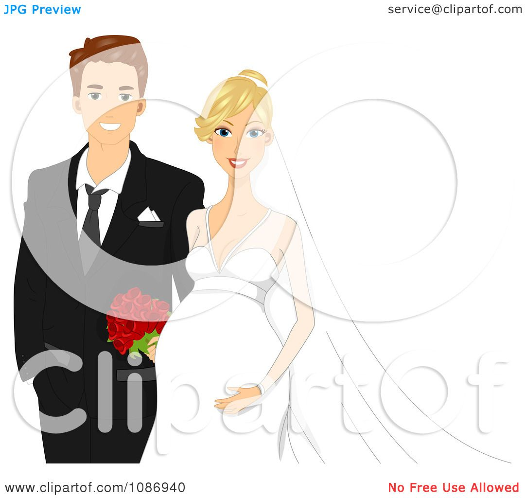 1080x1024 Clipart Happy Expecting Wedding Couple With The Bride Touching Her