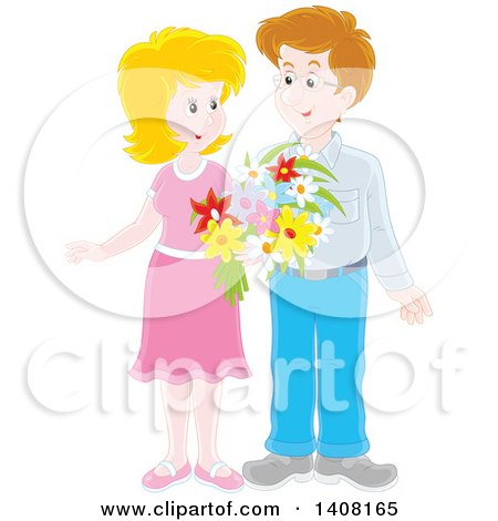 450x470 Clipart Of A Happy Caucasian Couple Holding Flowers And Looking