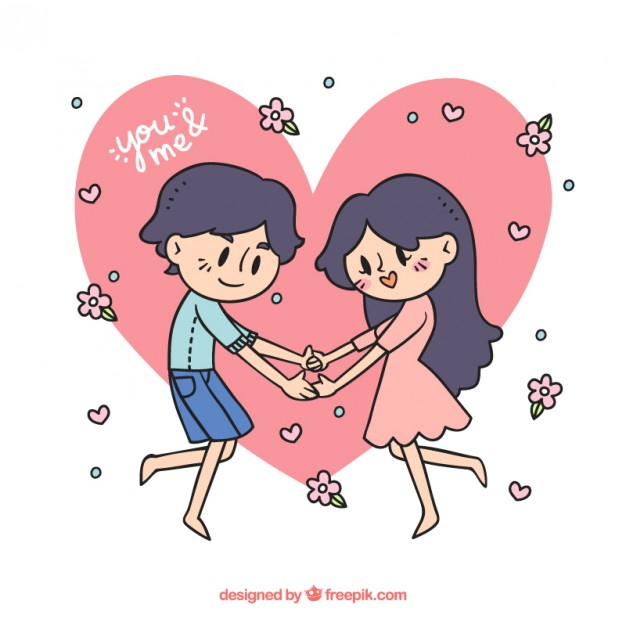 626x626 Hand drawn happy couple in love Vector Free Download