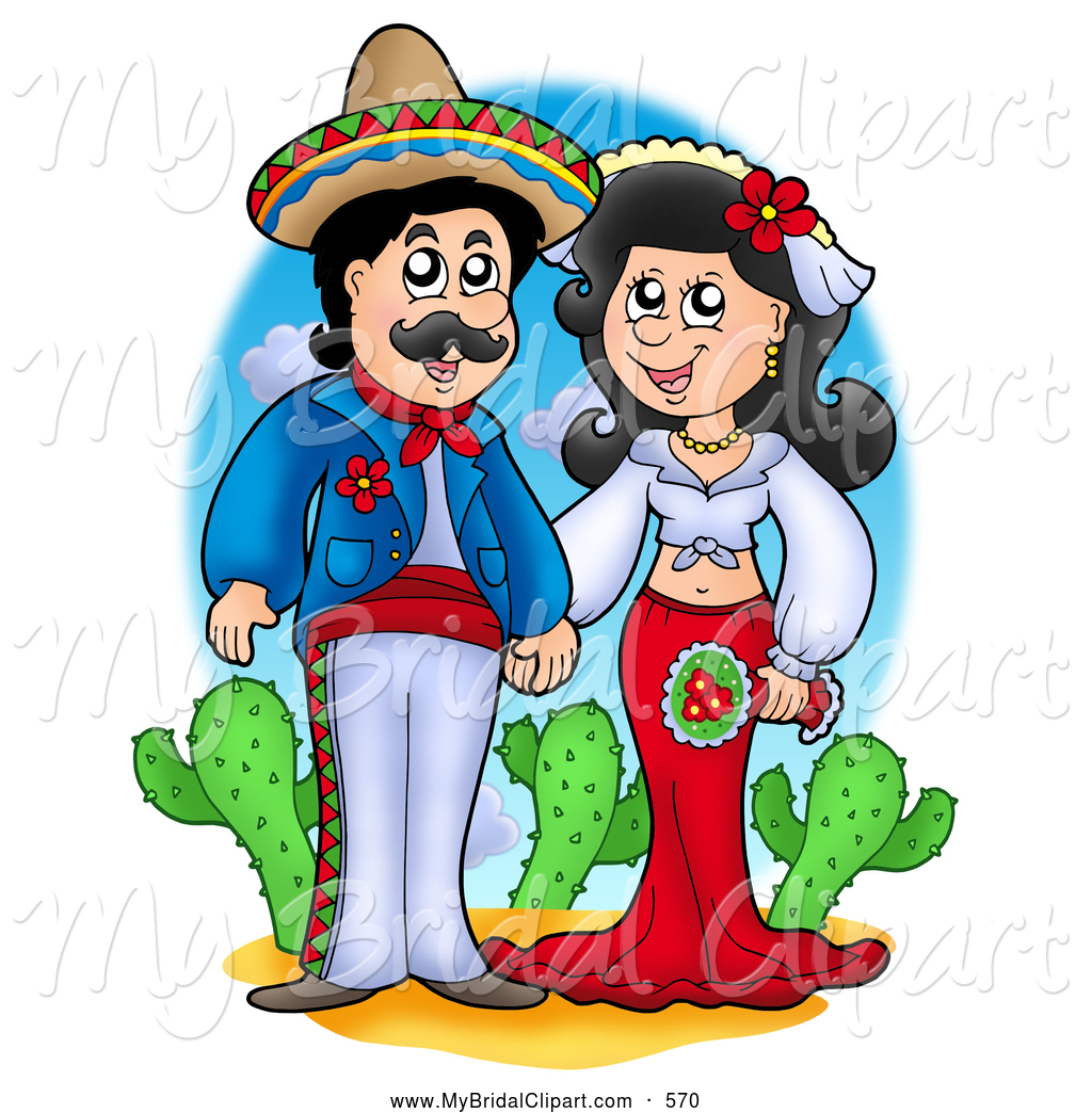 1024x1044 Bridal Clipart of a Happy Hispanic Wedding Couple Holding Hands by