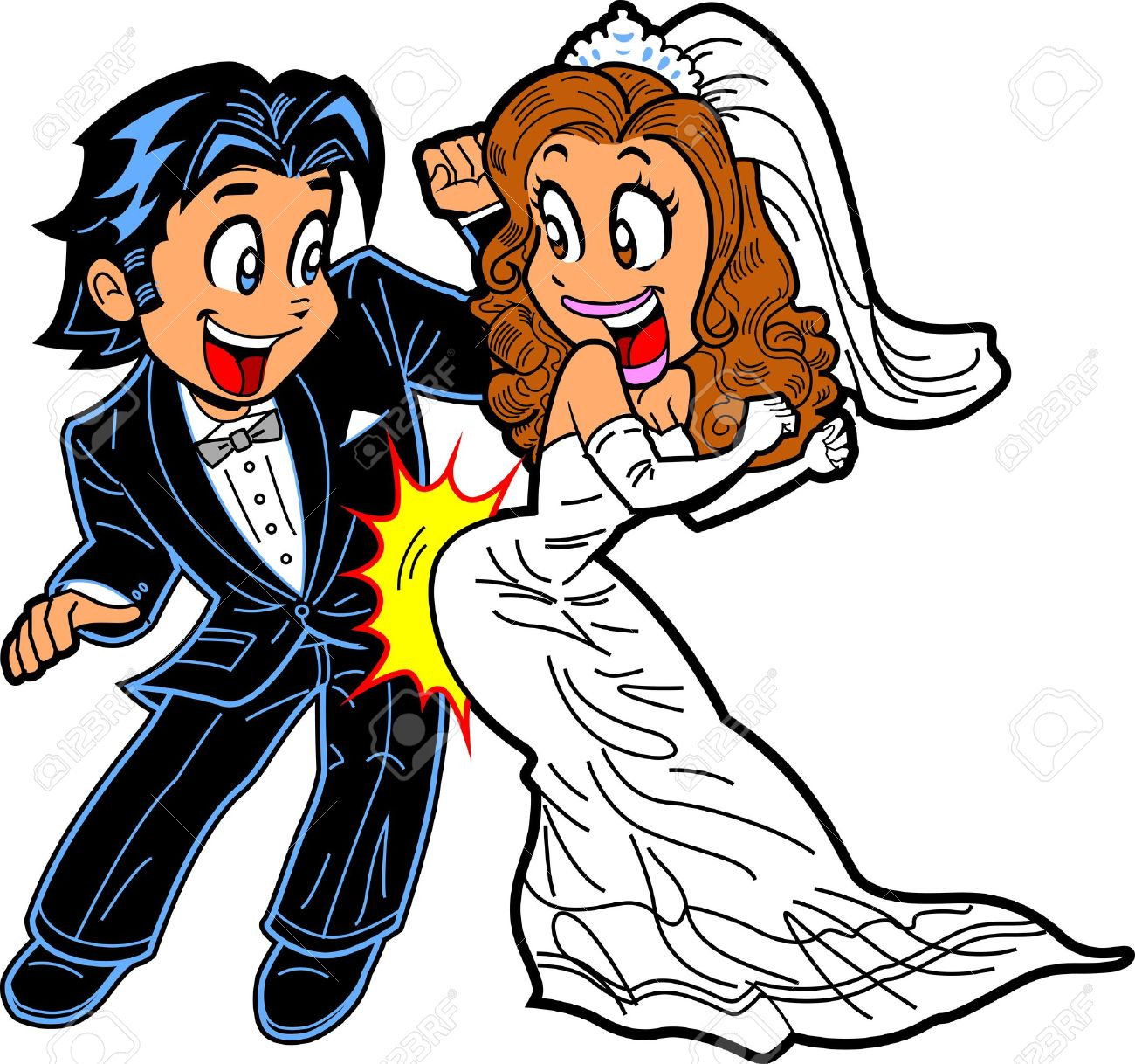 1300x1218 Happy Just Married Couple Doing The Wedding Dance Royalty Free