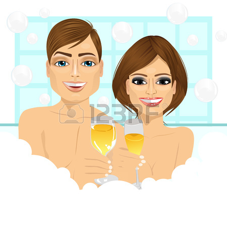 450x450 Romantic Couple In The Bathtub Royalty Free Cliparts, Vectors, And
