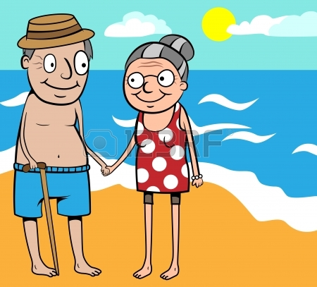 450x407 Cartoon Vector Illustration Of Happy Old Couple On Summer Holiday