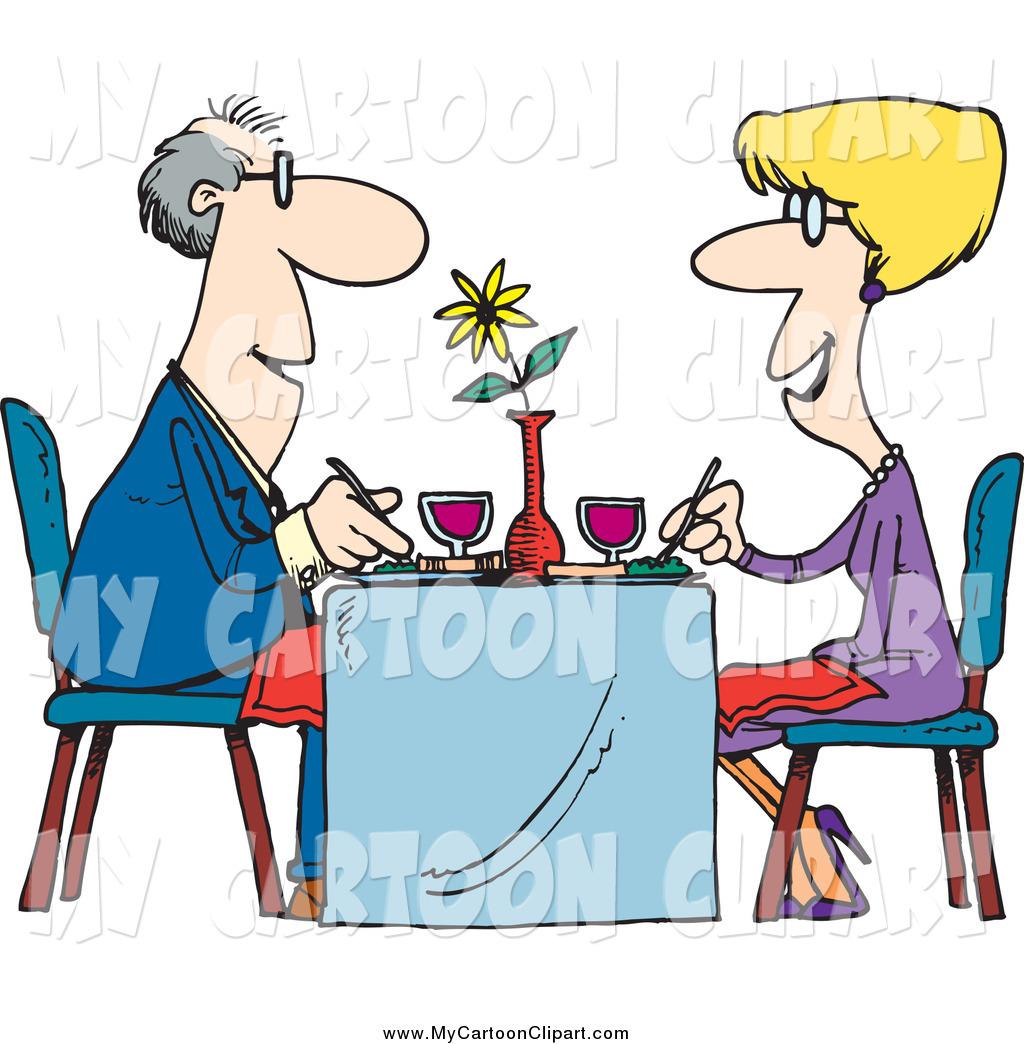 1024x1044 Clip Art of a Cartoon Happy Couple Dining