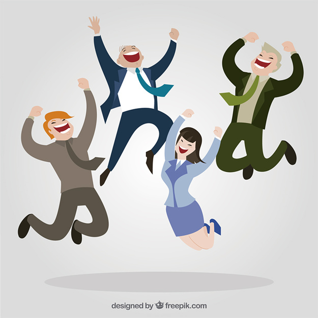 625x626 Happy entrepreneurs Vector Free Download