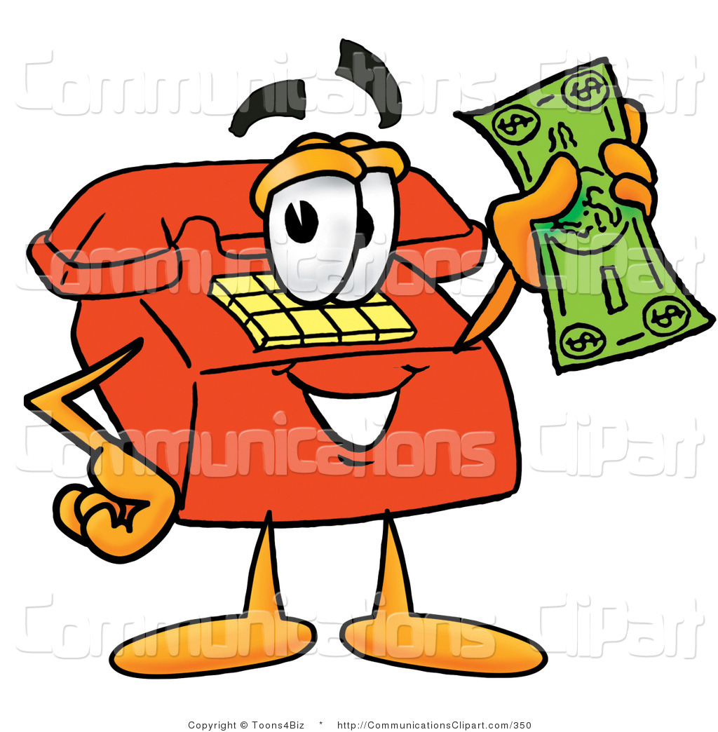 1024x1044 Communication Clipart of a Happy Red Telephone Mascot Cartoon