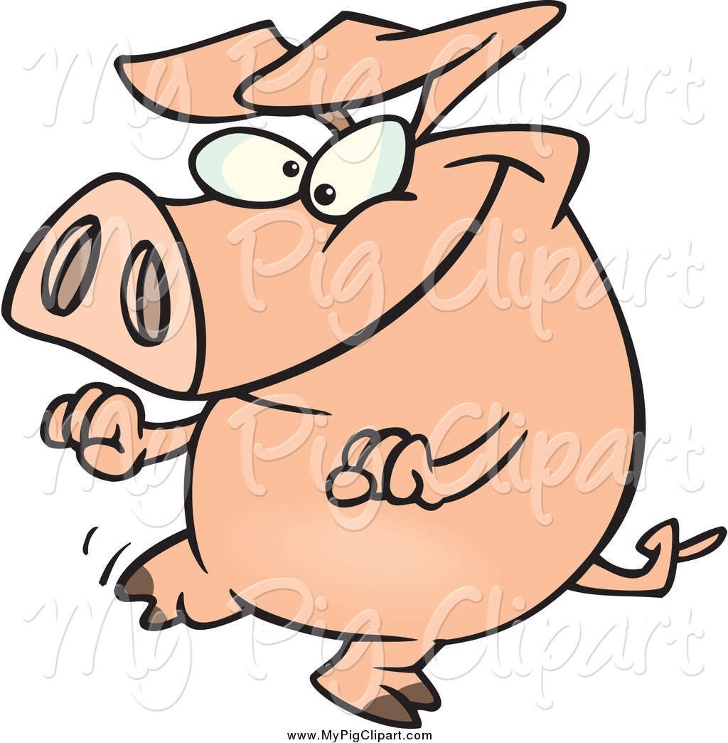1024x1044 Swine Clipart Of A Pig Doing A Happy Dance By Toonaday