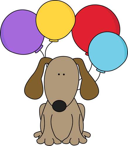 438x500 Dog With Balloons Clip Art