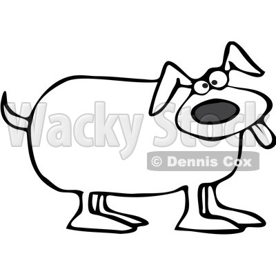 400x400 Free Vector Clip Art Illustration Of A Black And White Happy Dog