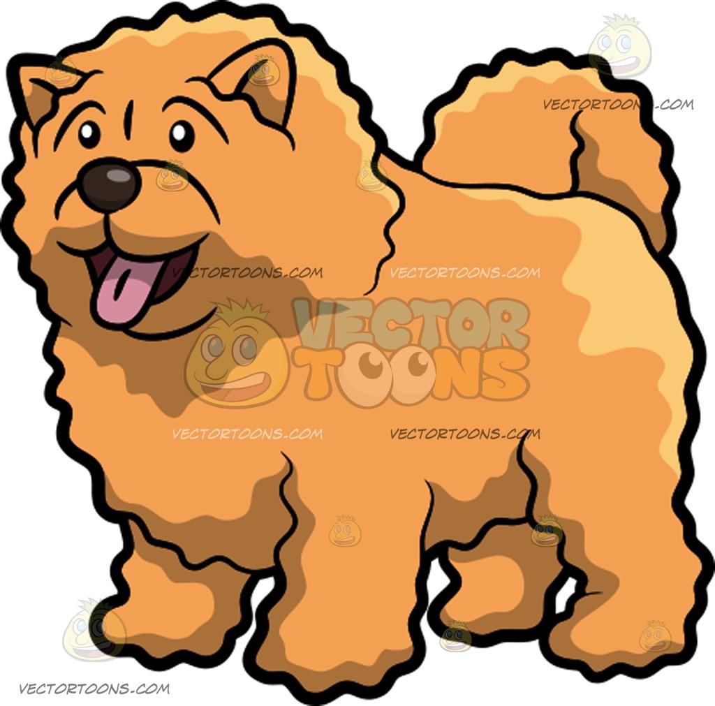 1024x1011 A Happy Fluffy Dog Cartoon Clipart