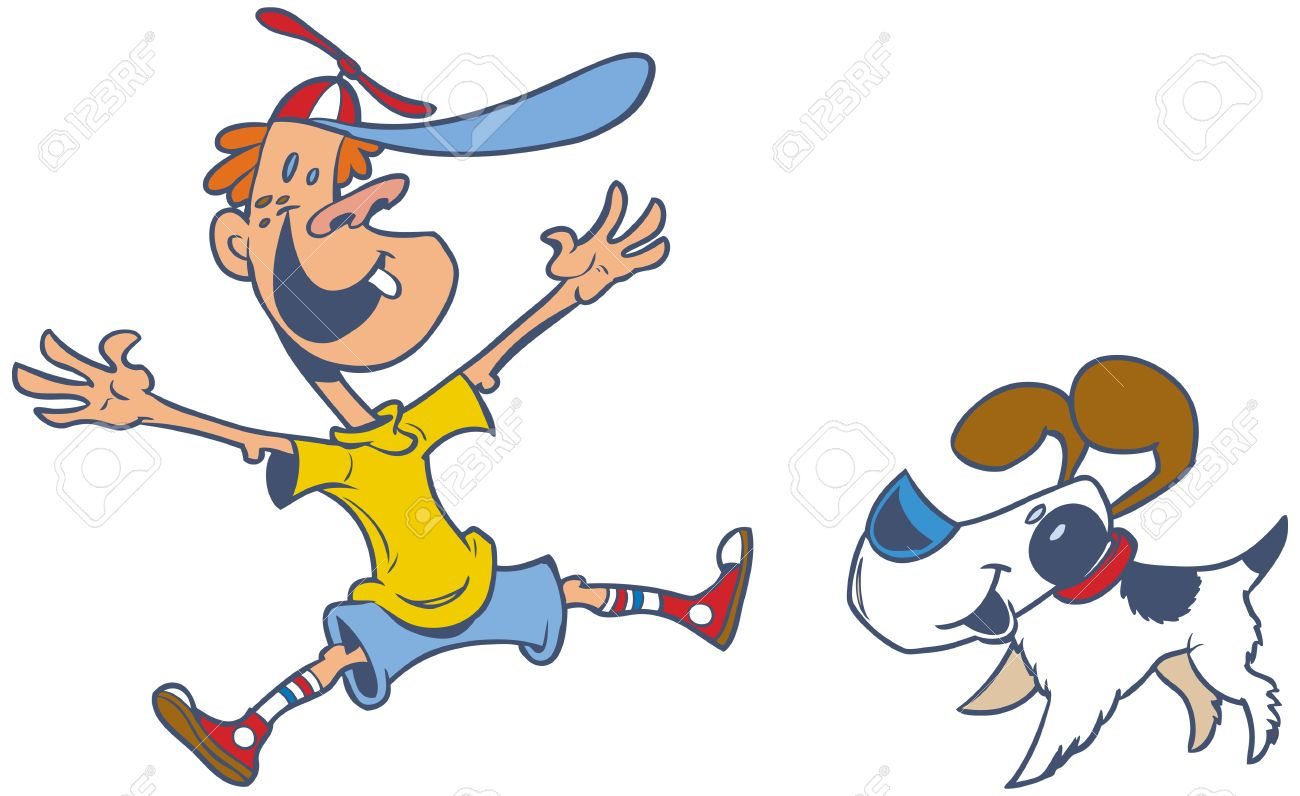 1300x796 Retro Style Cartoon Vector Clip Art Of A Jumping Boy Who Is Happy