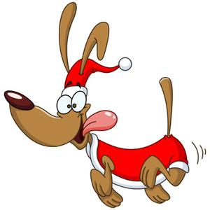 300x300 Clip Art Cartoon Christmas Dog