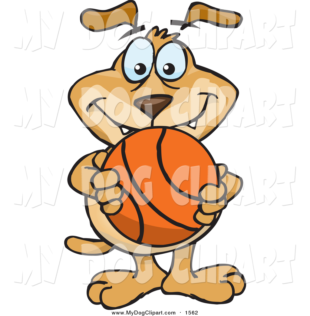 1024x1044 Clip Art Of A Happy Dog Holding A Basketball By Dennis Holmes
