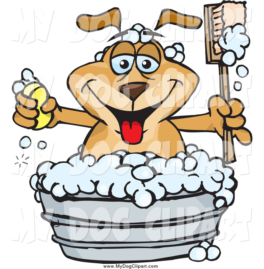 1024x1044 Clip Art Of A Happy Dog Holding A Handled Brush And Bar Of Soap