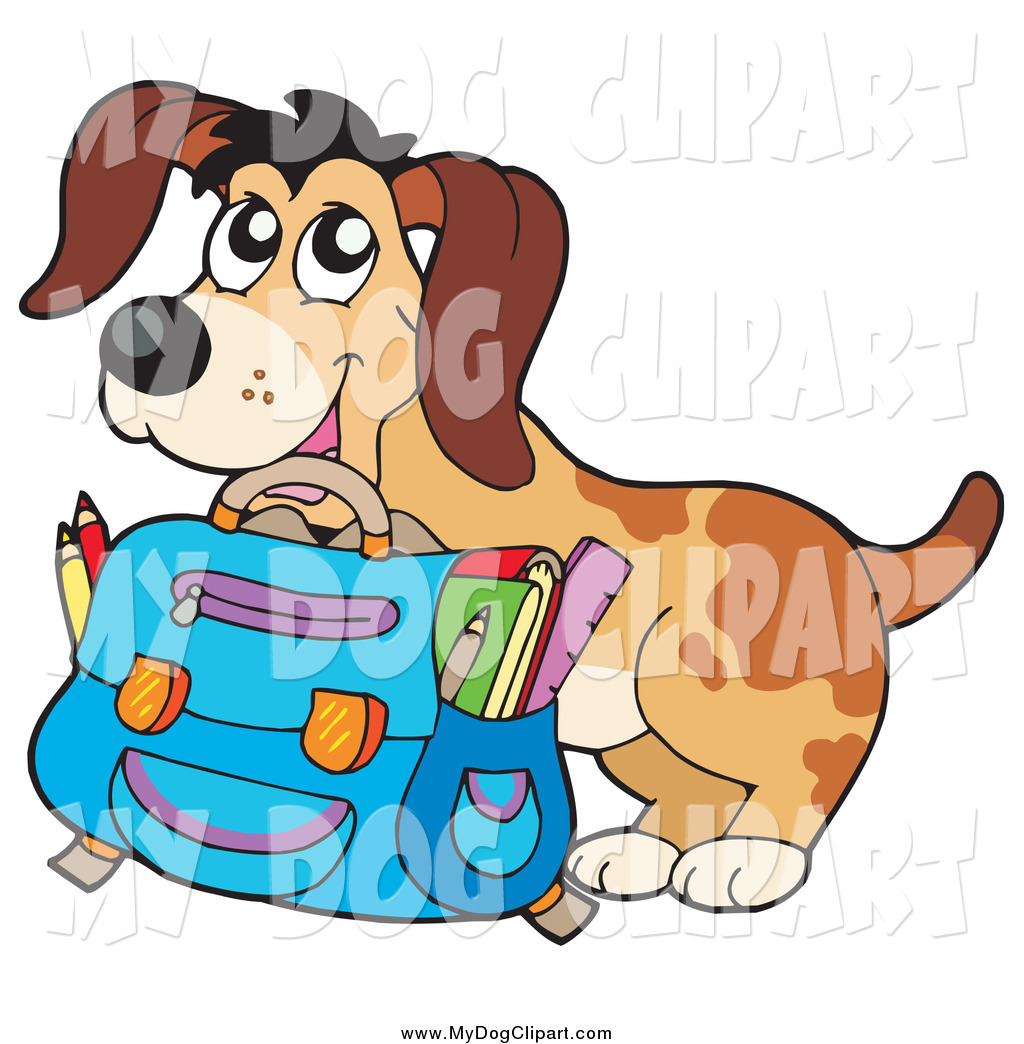 1024x1044 Clip Art Of A Happy Dog Student With A Backpack And School