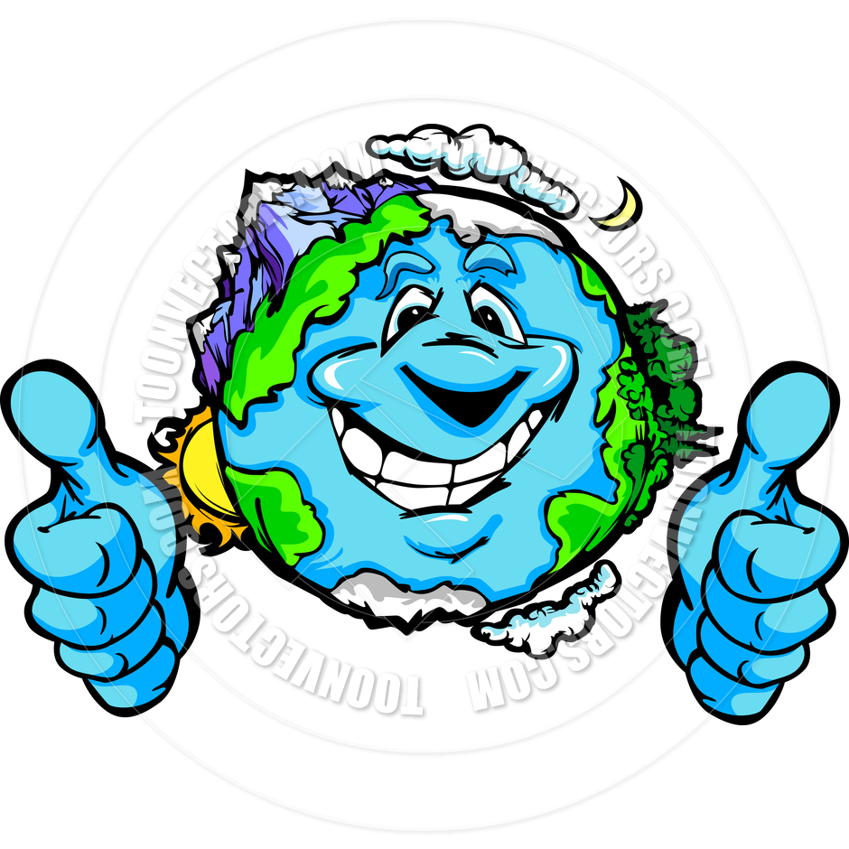 940x940 Happy Planet Earth With Thumbs Up Gesture Vector Cartoon By
