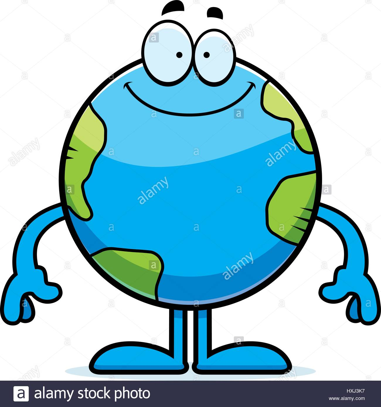 1300x1389 A Cartoon Illustration Of The Planet Earth Looking Happy Stock