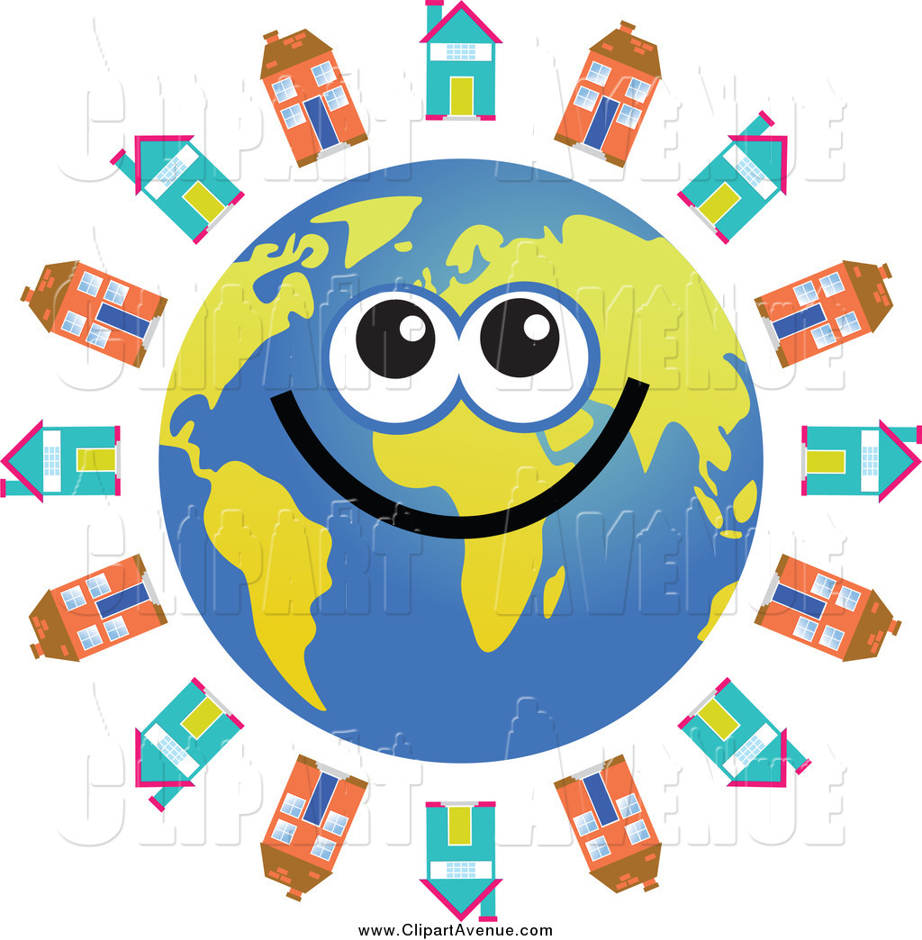 1024x1044 Avenue Clipart Of A Happy Earth Encircled With Houses By Prawny