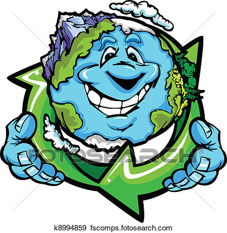 450x461 Clip Art Of Happy Planet Earth Holding Recycle K8994859