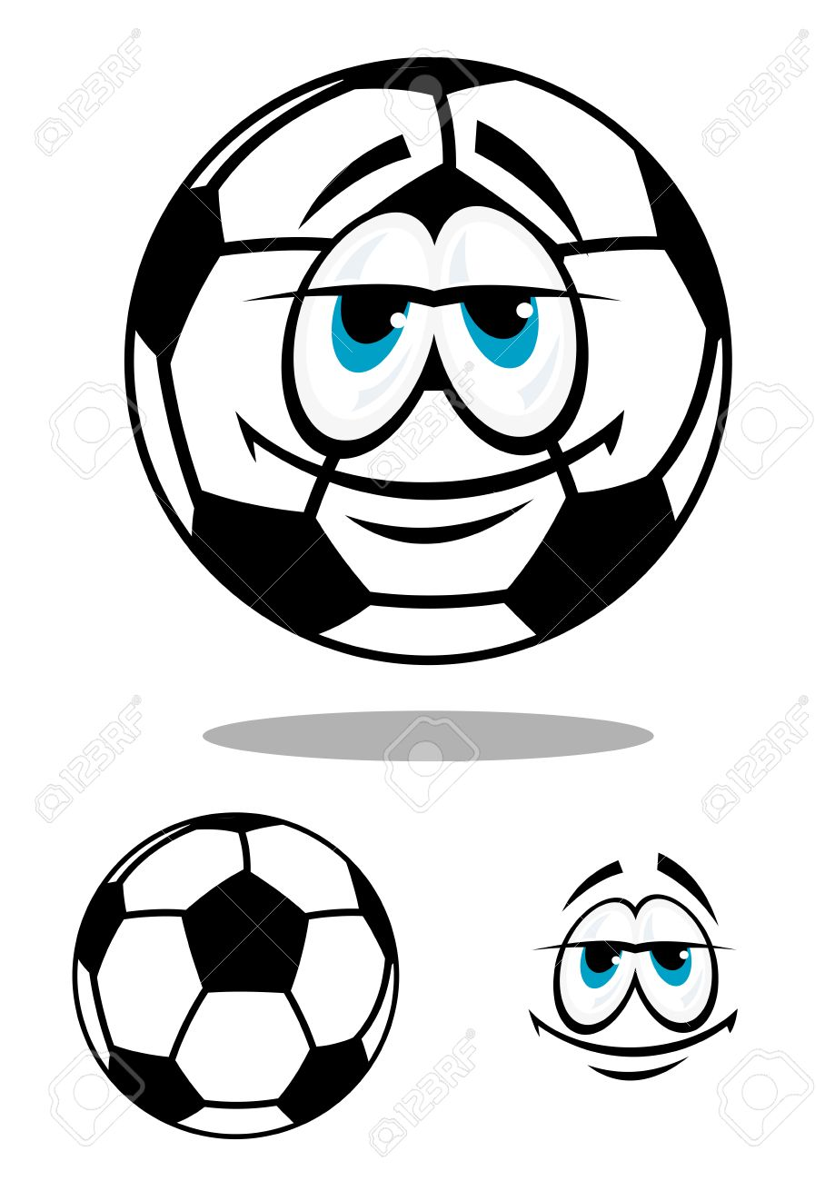 919x1300 Black And White Happy Cartoon Soccer Ball Character With Big