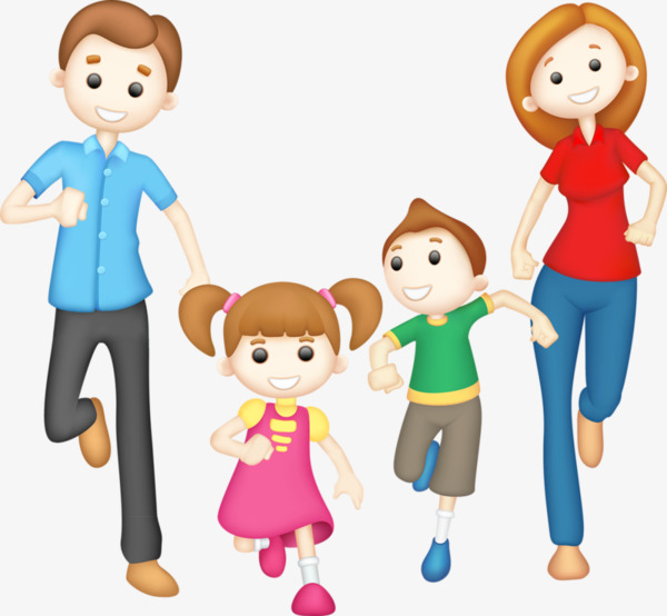 600x554 Happy Family Of Four Hand Painted, A Hand Painted Four, Cartoon