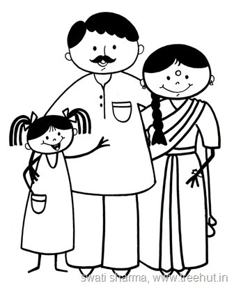 336x409 Indian Family Clipart Black And White
