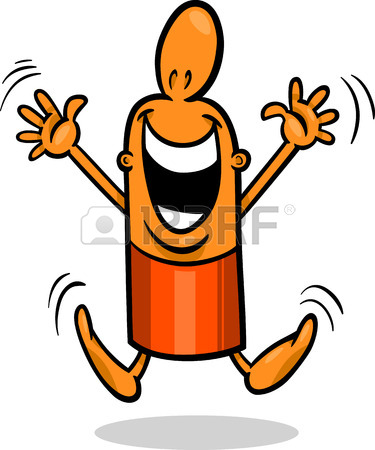 375x450 Cartoon Illustration Of Happy Or Excited Funny Guy Character