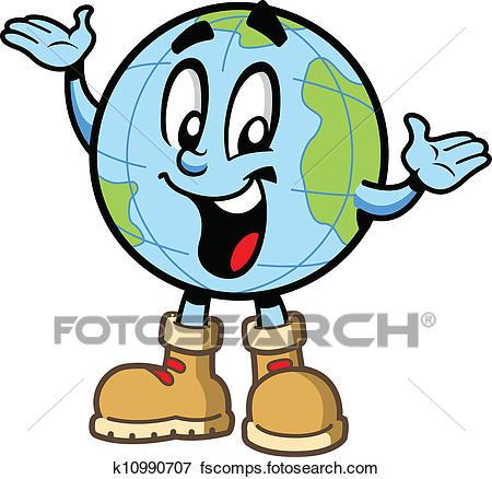 450x438 Clip Art Of Happy Globe Guy K10990707