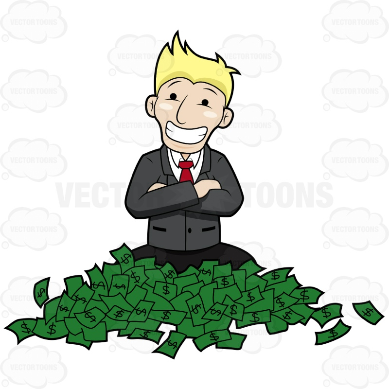 800x800 Happy Guy Sitting With A Bunch Of Money On Floor Cartoon Clipart
