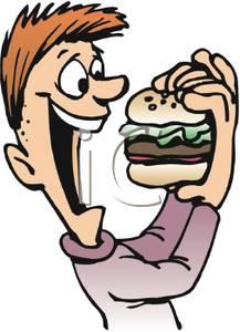 217x300 Art Image A Happy Boy Eating A Hamburger