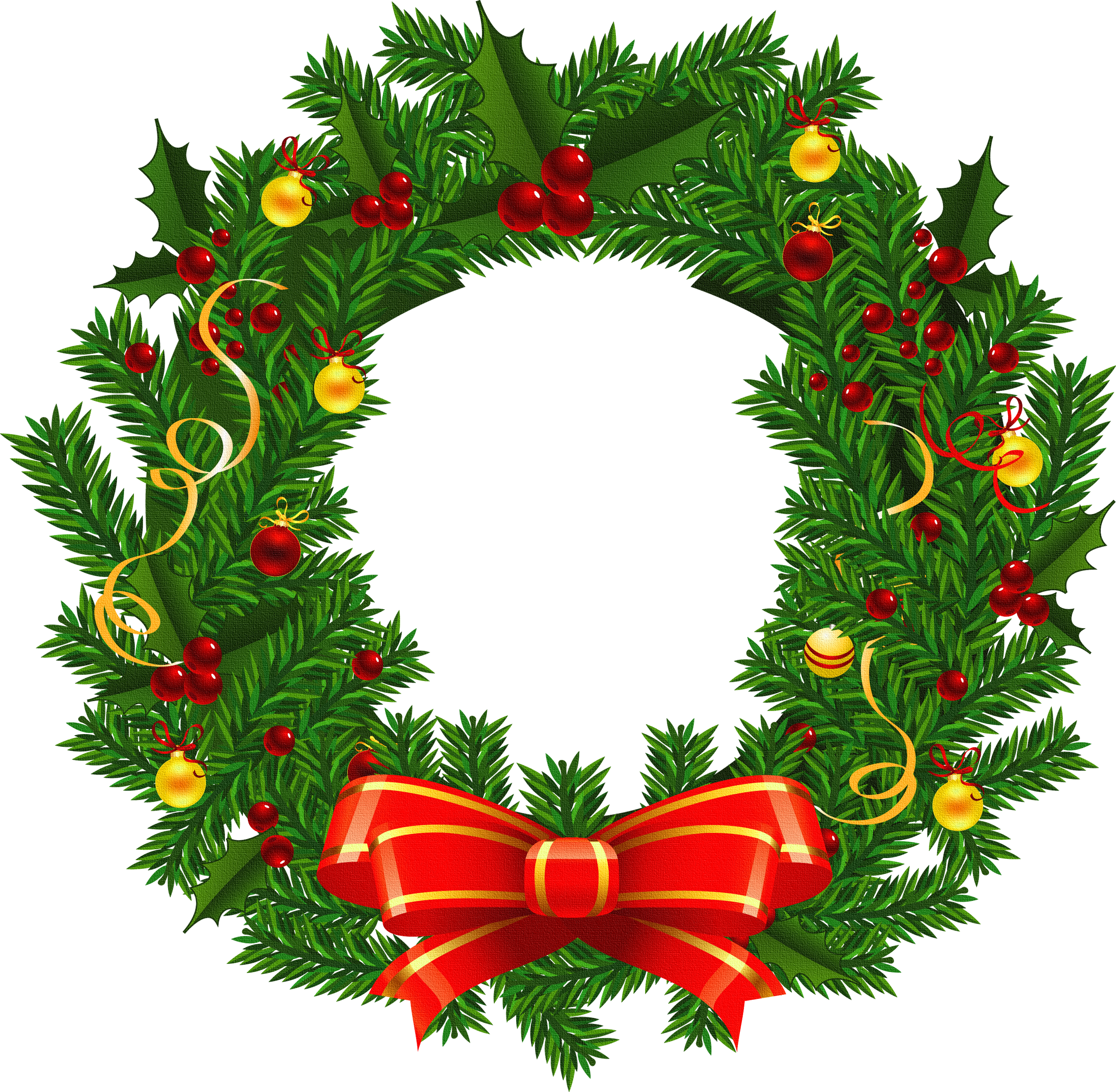 2700x2642 Christmas Wreath Clip Art Happy Holidays Image