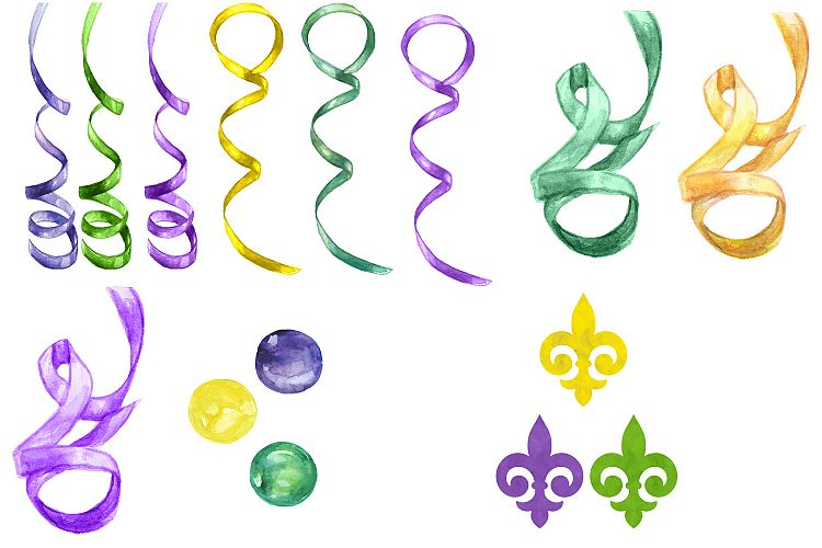 750x500 Watercolor Mardi Gras Digital Clip Art Design Bundles